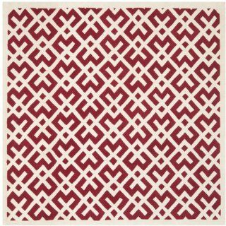 Safavieh CHT719G Chatham Collection Wool Square Handmade Area Rug, 7 Feet, Red and Ivory