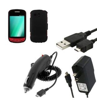 Samsung Admire / R720 Rubberized Hard Case Cover   Black + Clear LCD Screen Protector + Car Charger + Home Travel Charger + Sync USB Data Cable Cell Phones & Accessories