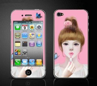 FiveBox Full Body Decal Cartoon beautiful cute girl Screen Protector Skin Sticker Front and Back for Apple iPhone 4 / 4S Cell Phones & Accessories