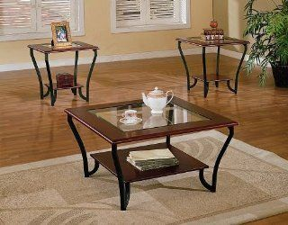 Shop 3pc Cherry Brown Cocktail Coffee Table & 2 End Table Set w/Glass at the  Furniture Store. Find the latest styles with the lowest prices from Poundex