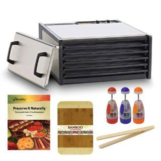 Excalibur 5 Tray Stainless Steel Electric Dryer w/Plastic Trays dehydrator + Preserve It Naturally Book + Cutting Board Bamboo 8 X 12 Bamboo Finish + Multi Purpose Chopper Plastic Finish + Bamboo Toast Tong   6.5 Inch Long Watt Stainless Dehydrator Kitch
