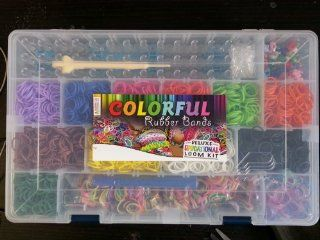 Deluxe Educational Bundle Kit & Loom Includes 3600 Bandz +150 S clips, 20 Beautiful Colors, Mixed Glow in Dark, Mixed Neon, Gold/silver, Starburst, 6 Charms, 50 Beads, 50 Alpha Beads and Great Storage Case Toys & Games