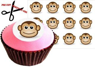 12 CHEEKY MONKEY 38mm (1.5 Inch) PRE CUT Cake Toppers Edible Rice Paper Cupcake Decoration 28