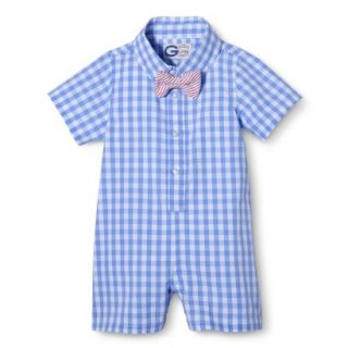 G Cutee Newborn Boys Short Sleeve Gingham Romper   Nautical Blue 0 3 M