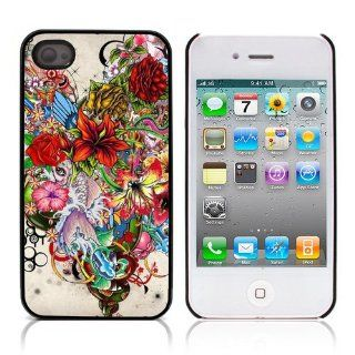 iLookcase Art Serie Drawn Flowers Hard Cover Case for Apple iPhone 4 4S With 3 Pieces Screen Protectors and One Stylus Touch Pen Cell Phones & Accessories
