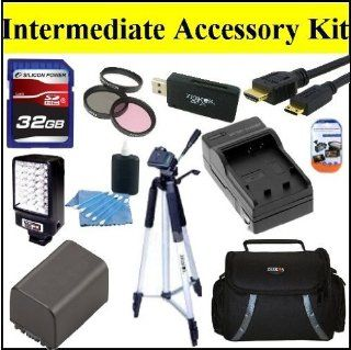 "Intermediate Accessory Kit For Sony HDR PJ710V HDR PJ760V HDR CX760V Handycam Camcorder   Includes 3PC Filter Kit + 32GB SD Memory Card + Replacement NP FV100 Battery + Battery Charger + LED Video Light + Deluxe Case + 57"" Tripod + Mini HDMI Cable &am"
