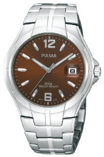 Pulsar Men's PXH751 Stainless Steel Case and Bracelet Brown Sunray Dial Watch at  Men's Watch store.