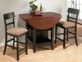 Jofran 3 Piece Counter Height Drop Leaf Dining Set in Black/Brunette Cherry Furniture & Decor