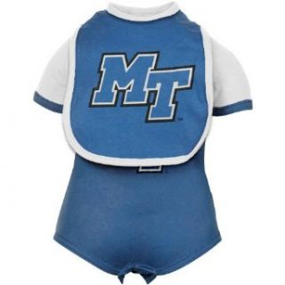 NCAA Middle Tennessee State Blue Raiders Infant Royal Blue Bolt Creeper & Bib Set (0 3 Months) Clothing