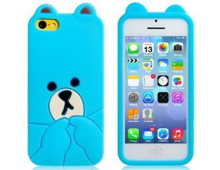 FUDE? Cute 3D Bear Design Silicone Case for iPhone 5C (Blue) Cell Phones & Accessories