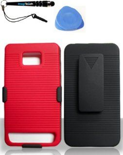 IMAGITOUCH(TM) 3 Item Combo Samsung i777Galaxy S II (AT&ampT) Ripple Case Red (Stylus pen, Pry Tool, Phone Cover) Cell Phones & Accessories