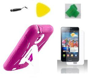 Pink / White Hybrid Armor w Kickstand Case Phone Cover + Extreme Band + Stylus Pen + LCD Screen Protector + Yellow Pry Tool for Samsung Galaxy S2 S II Straight Talk SCH R760 R760 R760X Epic Touch D710 Cell Phones & Accessories