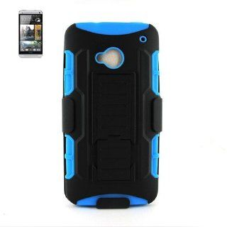 Heavy Duty Rugged Dual Layer Inner Silicone and Hard Outer Protective Case Cover and Holster with Swivel Belt Clip Combo for HTC One / M7 Cell Phone   Black/Blue Cell Phones & Accessories