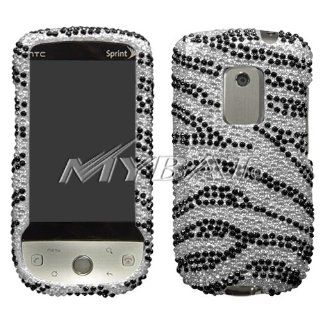 HTC Hero Cell Phone Full Crystal Diamonds Bling Protective Case Cover Black and Silver Zebra Animal Skin Design Cell Phones & Accessories
