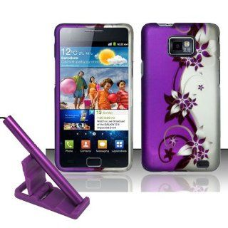 5pcs combo for AT&T Samsung Galaxy S2 S II SGH i777   Silver Black Purple Flower Vine Rubberized Snap on Hard Cover Shield Case + Aluminum capacitive stylus pen + adjustable mini phone stand + lcd screen protector film + case opener Cell Phones &
