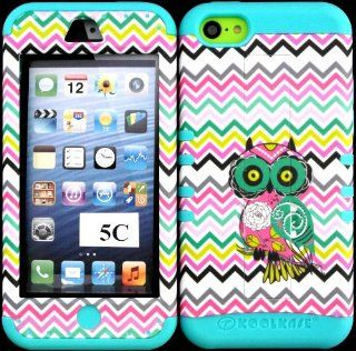 Apple Iphone 5c Owl on Chevron Waves Pattern Design Hard Plastic Protective Cover Case with Kickstand on Baby Teal Silicone Gel. Cell Phones & Accessories