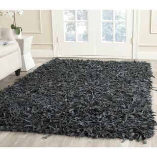 Safavieh Handmade Leather Shag Grey Leather Rug (8 X 10)