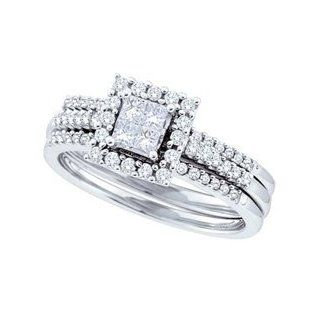 14k White Gold Natural Quad Princess Diamond Womens Ladies Halo Bridal Wedding Engagement Ring & Anniversary Band Set   .50 (1/2) Ct.t.w. Jewelry
