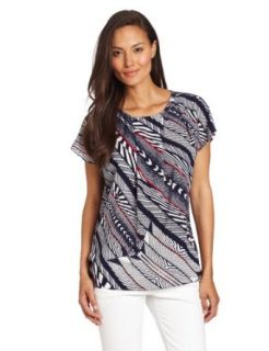 Anne Klein Women's Bias Stripe Print Blouse, New Marine Multi, X Small