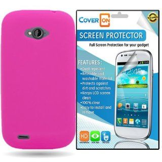 CoverON� ZTE Savvy Silicone Rubber Soft Skin Case Cover Bundle with Clear Anti Glare LCD Screen Protector   Hot Pink Cell Phones & Accessories