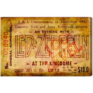 Oliver Gal Led Zeppelin Concert Ticket Textual Art on Canvas 10709_24x16/1070