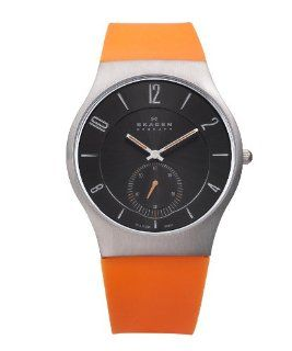 Skagen Denmark Mens Watch Orange Silicone Band #805XLTRO at  Men's Watch store.