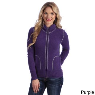 Luigi Baldo Italian Made Cashmere Luigi Baldo Womens Sporty Full zip Sweater Purple Size M (8  10)