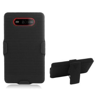 Aimo Wireless NK820PCBEC001 Shell Holster Combo Protective Case for Nokia Lumia 820 with Kickstand Belt Clip and Holster   Retail Packaging   Black Cell Phones & Accessories