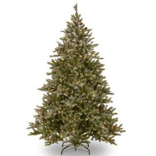 National Tree 7 1/2 Feet Snowy Concolor Fir Hinged Tree with Cones and 800 Soft White LED Lights   Christmas Trees