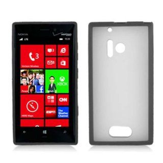 Nokia Lumia 928 (Verizon) One Piece TPU Rubber Border Case Cover Transparent Plastic, Black + LCD Clear Screen Saver Protector Cell Phones & Accessories