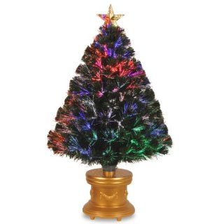 "National Tree 36 Inch Fiber Optic ""Evergreen"" Firework Tree with Top Star and Gold Revolving LED Base   Christmas Trees"
