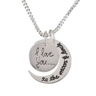 "Silver Tone ""I Love You to the Moon and Back"" Two Piece Pendant Necklace Jewelry"