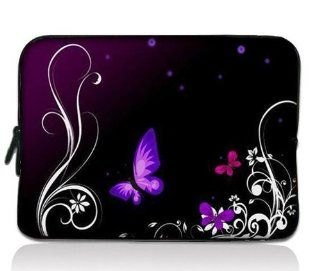 "Purple Butterfly Universal Zip Bag 7"" Tablet Case Cover Sleeve for 7"" Samsung Galaxy Tab 2 Tab 3 ,Ipad Mini,Barnes & Noble NOOK Color Tab/Google Nexus 7, Kindle Fire HD ,HP Slate 7,Pendo Pad ,7 inch Pioneer Dreambook,Acer Iconia A100,BlackBer"