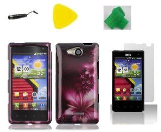Feather Flower Faceplate Hard Phone Case Cover Cell Phone Accessory + Yellow Pry Tool + Screen Protector + Stylus Pen + EXTREME Band for Lg Optimus Exceed Lg vs840pp VS840PP Cell Phones & Accessories