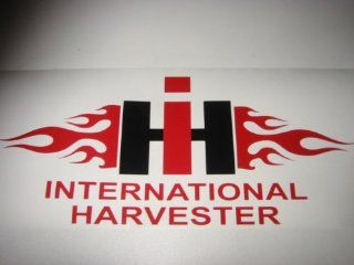 Flaming International Harvester IH vinyl lettering decal sticker BLACK/RED Automotive