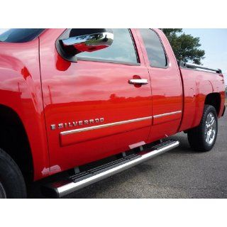"2009 2013 Chevy Silverado Extended Cab Rocker Panel Chrome Stainless Steel Body Side Moulding Molding Trim Cover Top 1"" Wide 4PC Automotive"