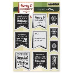 Penny Black Cling Rubber Stamp 5 X7.5 Sheet   Christmas Banner