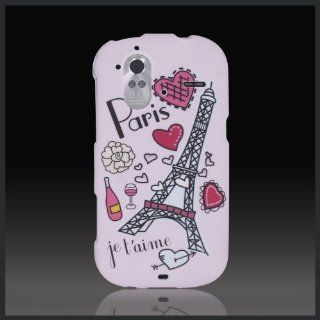 Design Pink Paris Eiffel Tower Hearts Wine cool hard case cover for HTC Amaze 4G Ruby G22 Cell Phones & Accessories
