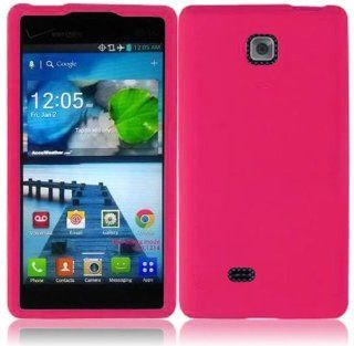 LG Lucid 2 VS870 Hot Pink Silicone Soft Skin Gel Case Cover Cell Phones & Accessories
