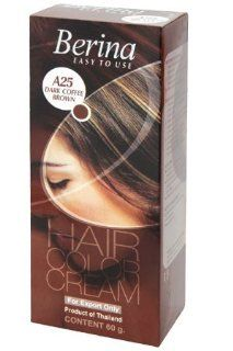 Berina Permanent Hair Dye Color Cream (A25 Dark coffee Brown)  Chemical Hair Dyes  Beauty