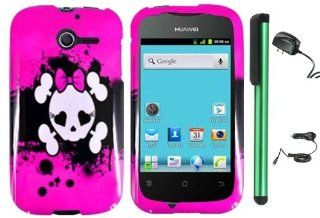 "Huawei Ascend Y M866   Pink Black Heart Love Eye Cute Skull Premium Design Protector Hard Cover Case (U.S. Cellular) + Luxmo Brand Travel (Wall) Charger & Car Charger + Combination 1 of New Metal Stylus Touch Screen Pen (4"" Height, Random Color  B"