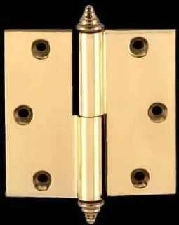 "Door Hinges Bright Solid Brass, 3.5""x 3.5"" Solid Brass Square Hinge, Left Lift Off  14834"