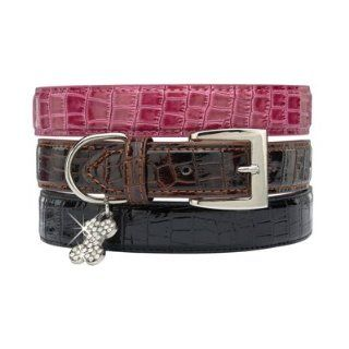14   18 In Croc Leather Dog Collar   Pink  Pet Fashion Collars