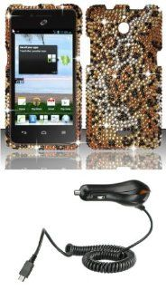 Huawei Ascend Plus H881C   Premium Accessory Kit   Cheetah Diamond Bling Case + ATOM LED Keychain Light + Micro USB Car Charger Cell Phones & Accessories