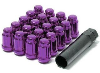 Muteki 41885L Purple 12mm x 1.25mm Closed End Spline Drive Lug Nut Set with Key, (Set of 20) Automotive