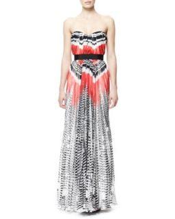Womens Feather Print Strapless Chiffon Gown, Red/White/Black   Alexander