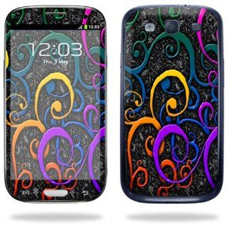 Protective Vinyl Skin Decal Cover for Samsung Galaxy S III S3 Cell Phone Sticker Skins Color Swirls Cell Phones & Accessories