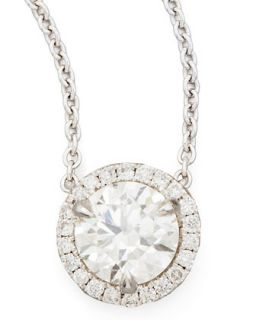 18k White Gold Diamond Solitaire Pendant Necklace with Pave Halo, 1.01ctw H/SI1