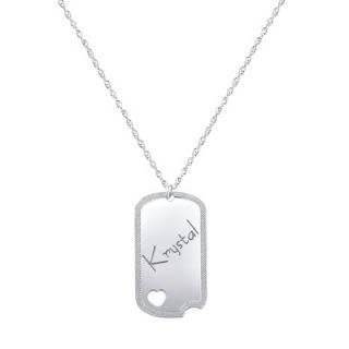 Personalized Cut Out Heart Dog Tag in Sterling Silver (8 Characters