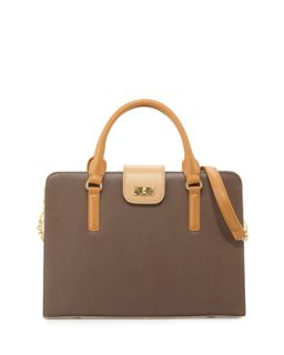 June Colorblock Leather Tote Bag, Taupe Combo   Charles Jourdan